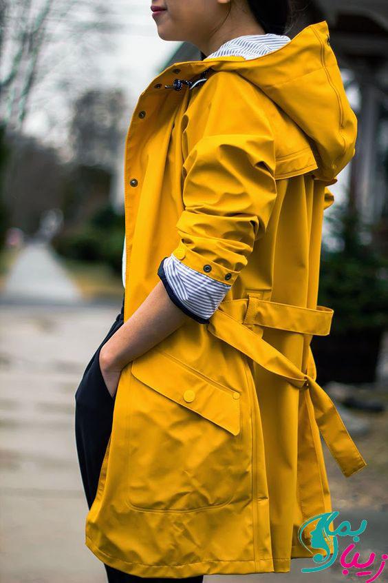 مدل بارانی دخترانه رنگ شاد