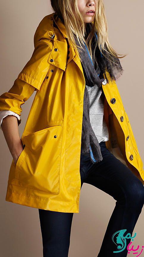 مدل بارانی دخترانه با رنگ شاد