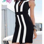لباس مجلسی کوتاه سیاه سفید