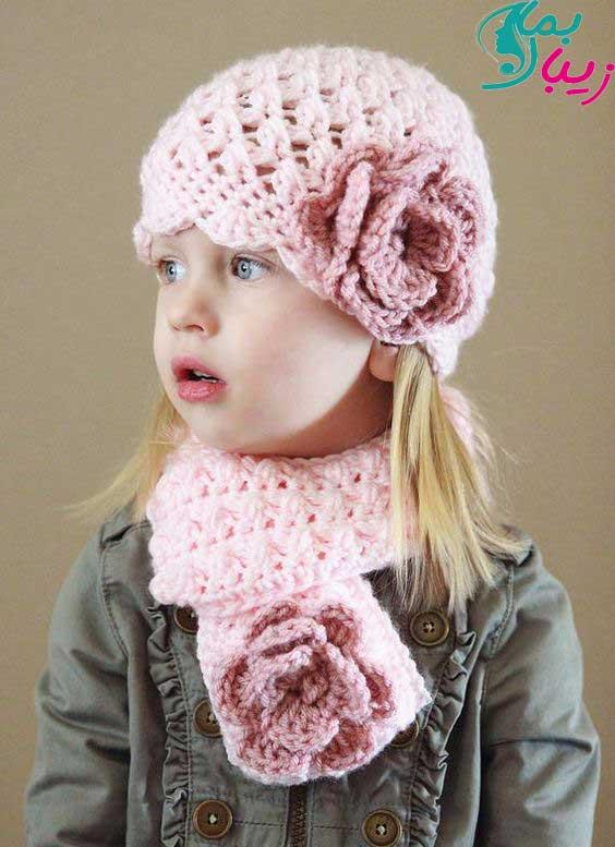 مدل شال و کلاه بچگانه گل دار