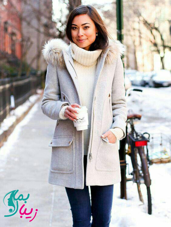 پالتو سفید رنگ زمستانی