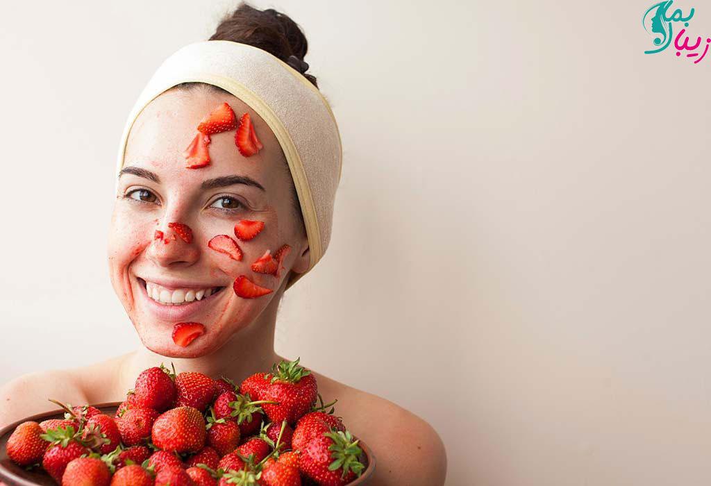 ماسک توت فرنگی برای لک صورت