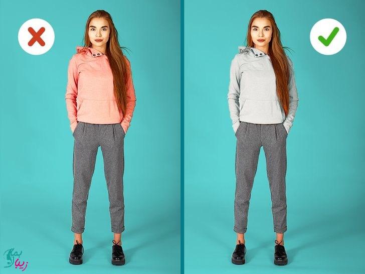 پوشیدن لباس هایی از یک طیف رنگی برای بلند نشان دادن قد