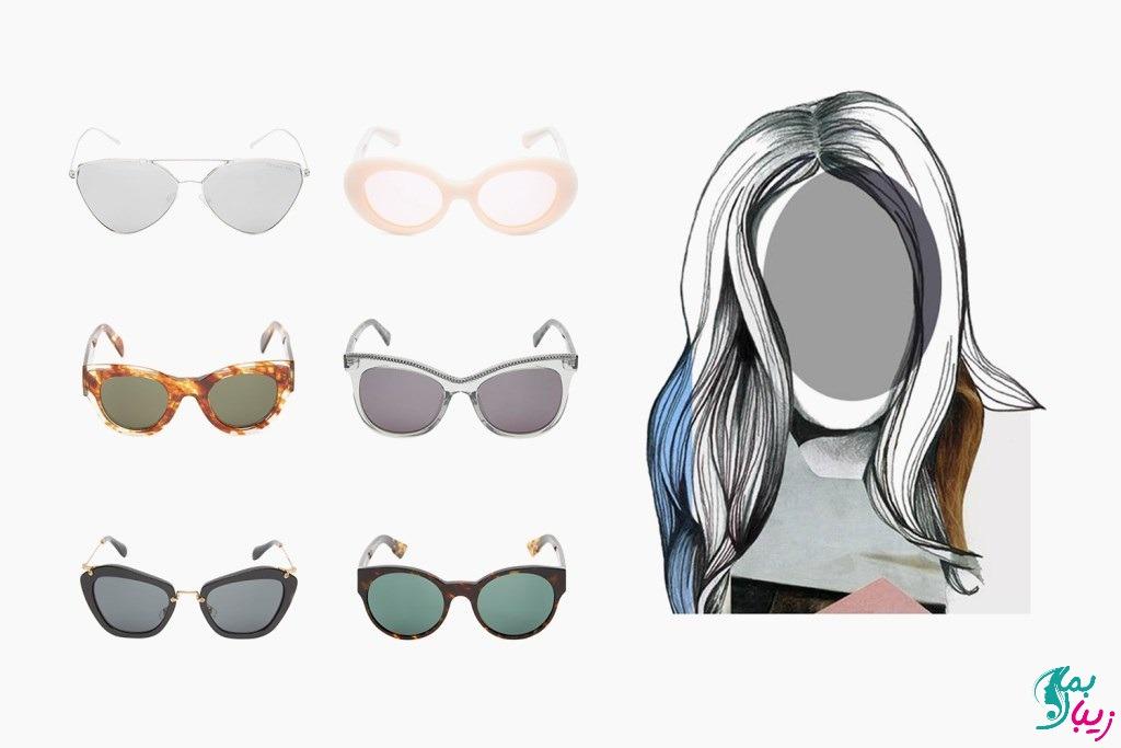 عینک و عینک آفتابی برای صورت بیضی شکل و کشیده